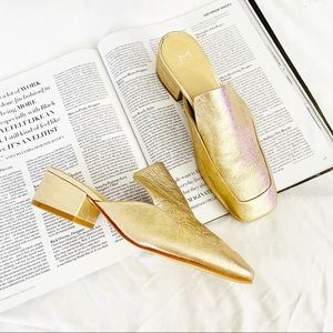 Marc Fisher Lailey square toe mules gold leather